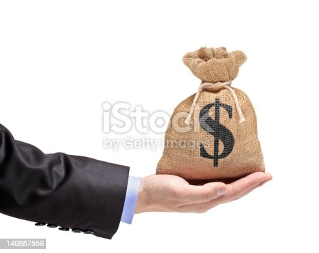 istock Hand holding a money bag 146887856