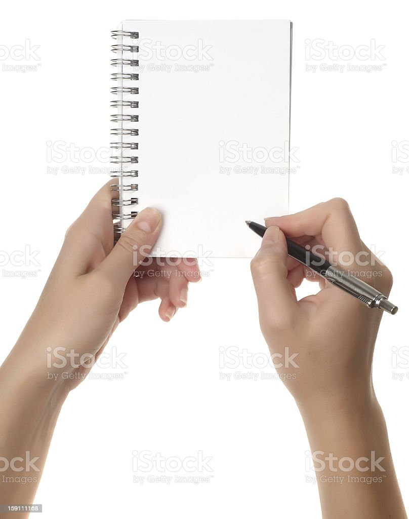 hand holding a notebook royalty-free stock photo