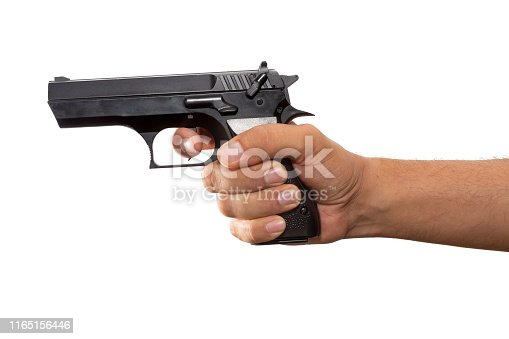 istock Hand holding a real gun on white background 1165156446