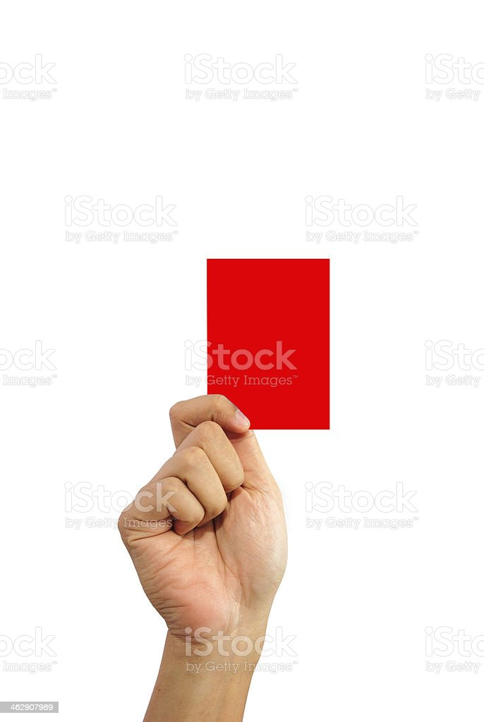 Hand holding a red card isolated on white background stock photo