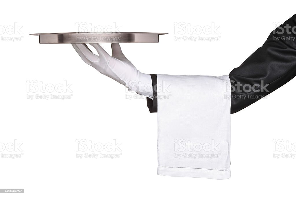 Hand holding a silver tray royalty-free stock photo