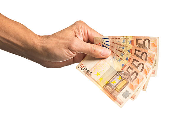 Hand Holding a Stack of European Currency, 50 Euros – Foto
