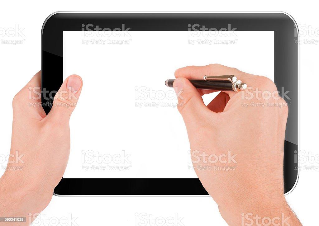 Hand holding a tablet pc computer Lizenzfreies stock-foto