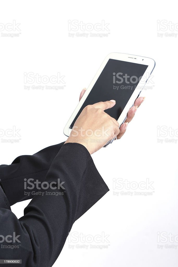 Hand holding a tablet. stock photo