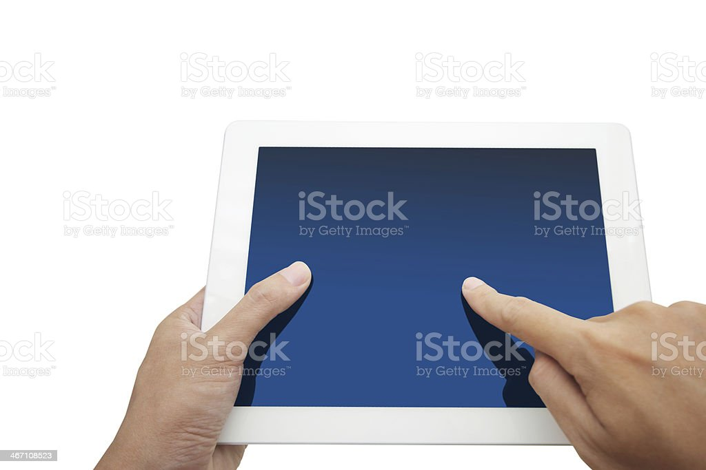 hand holding a touchpad pc, isolated on white stock photo