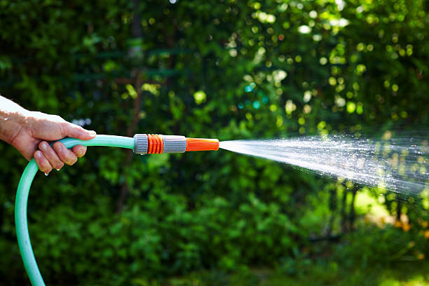 a hand holding a watering hose pipe - garden hose stock pictures, royalty-free photos & images