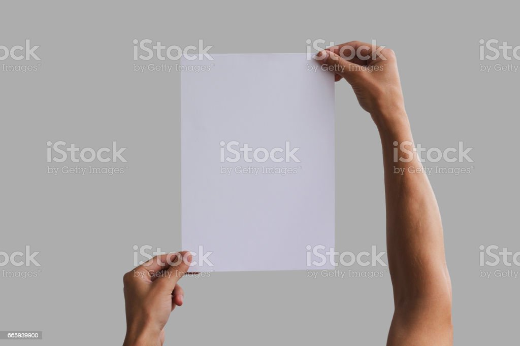 Hand holding A4 paper in the hand. Leaflet presentation. Pamphlet hand man. Man show offset paper. Sheet template. Book in hands. Booklet folding design. Fold paper sheet display read foto stock royalty-free
