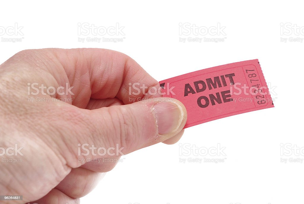 Hand Holding Admit One Ticket stock photo
