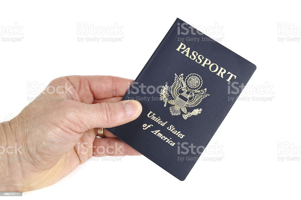 Hand Holding an American Passport royalty-free stock photo