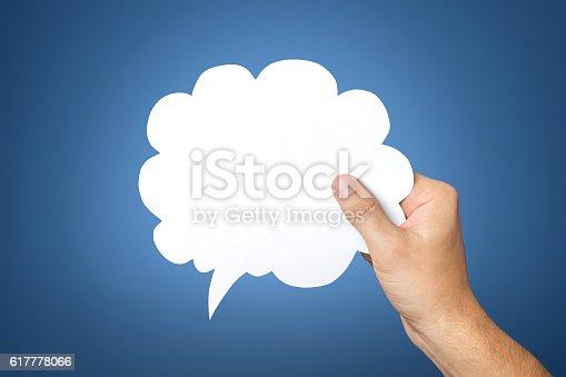 465462550istockphoto Hand holding an empty speech bubble 617778066