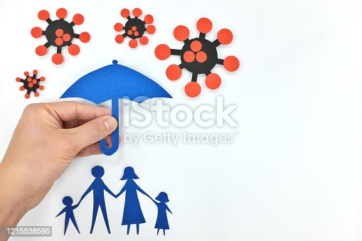 Hand holding an umbrella over a family against coronavirus. Protection against covid-19 pandemic. White background with copy space.