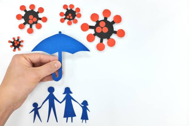 hand hält einen regenschirm über einer familie gegen coronavirus. schutz vor covid-19-pandemie. - immunsystem stärken stock-fotos und bilder