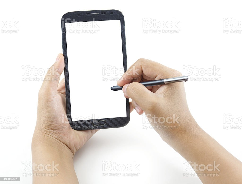 Hand holding and note stock photo