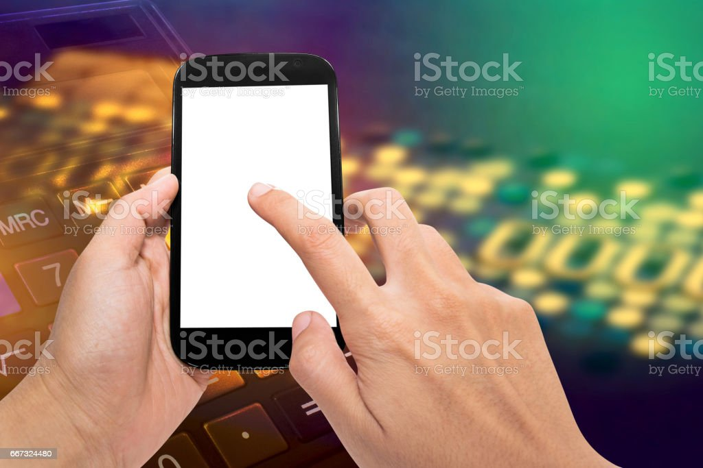 hand holding and touch screen smart phone stock photo