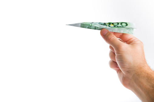 istock Hand Holding Banknote Paper Plane 179028456