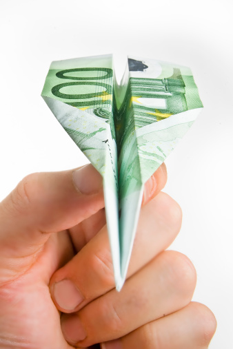 istock Hand Holding Banknote Paper Plane 179029036