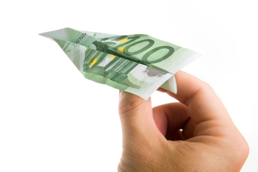 istock Hand Holding Banknote Paper Plane 179030278