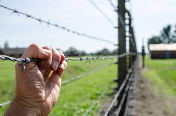 Hand mit Stacheldraht in Krakau, Polen während Sommertag – Foto