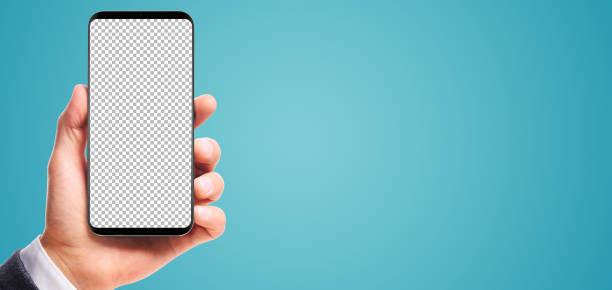 Hand, die Lünette-weniger smartphone – Foto