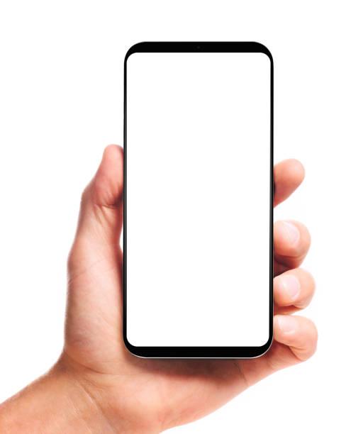 Hand hält bezel-loses Smartphone – Foto