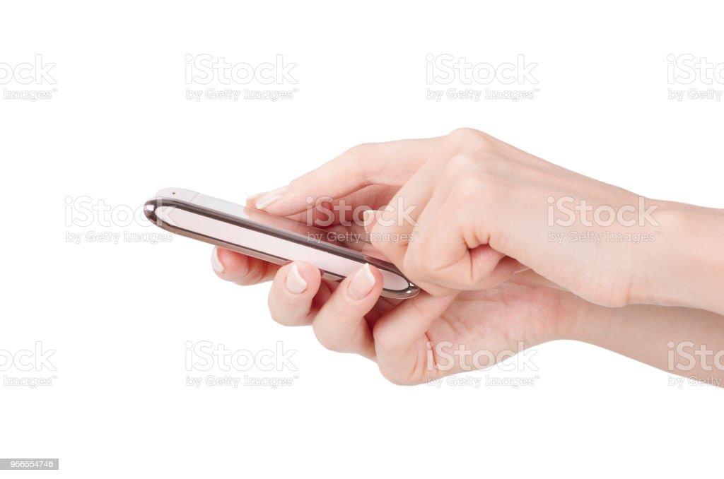 Hand mit großen Touchscreen Smartphone - Lizenzfrei Ausrüstung und Geräte Stock-Foto