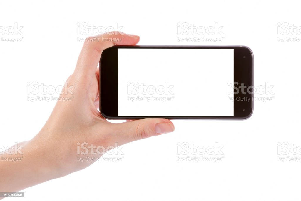 Hand holding black smart phone isolated on white bildbanksfoto