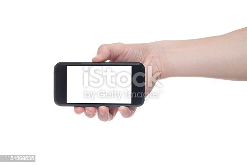 istock Hand holding black Smartphone with blank screen on white backgroun. 1154569535