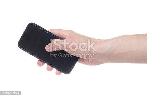 istock Hand holding black Smartphone with blank screen on white backgroun. 1154569538