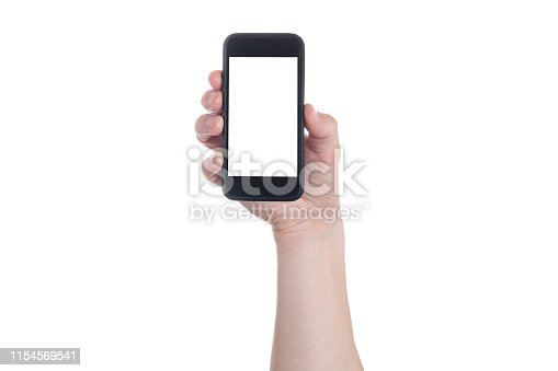 istock Hand holding black Smartphone with blank screen on white backgroun. 1154569541