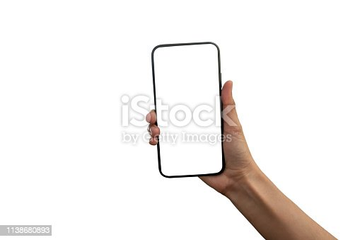 istock hand holding black smartphone with white screen at isolated on white background 1138680893
