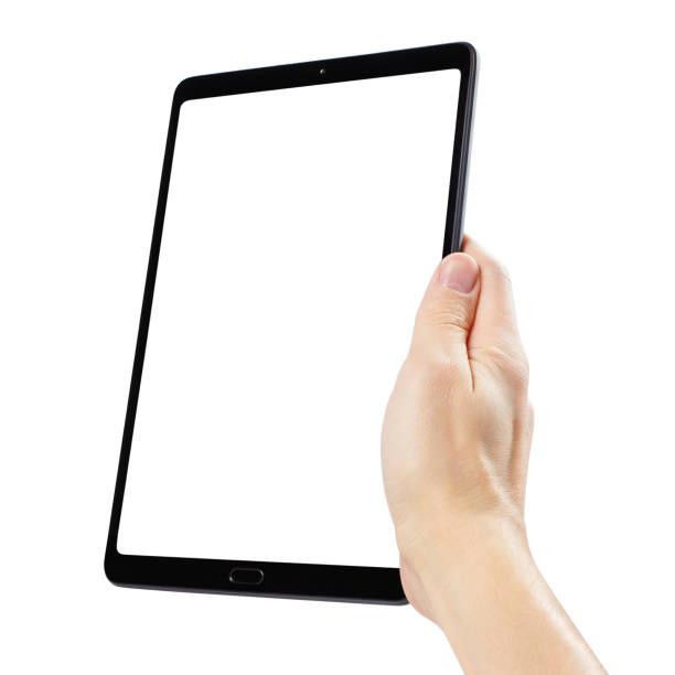 hand holding black tablet on white - hand holding phone стоковые фото и изображения
