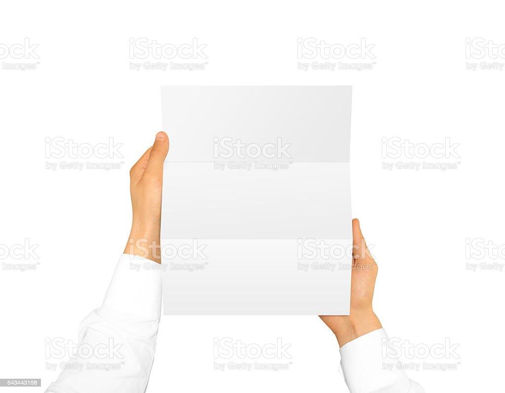 Hand holding blank brochure booklet leaflet stock photo