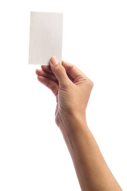 hand - holding blank card, isolated on white - ticket stock photos and pictures