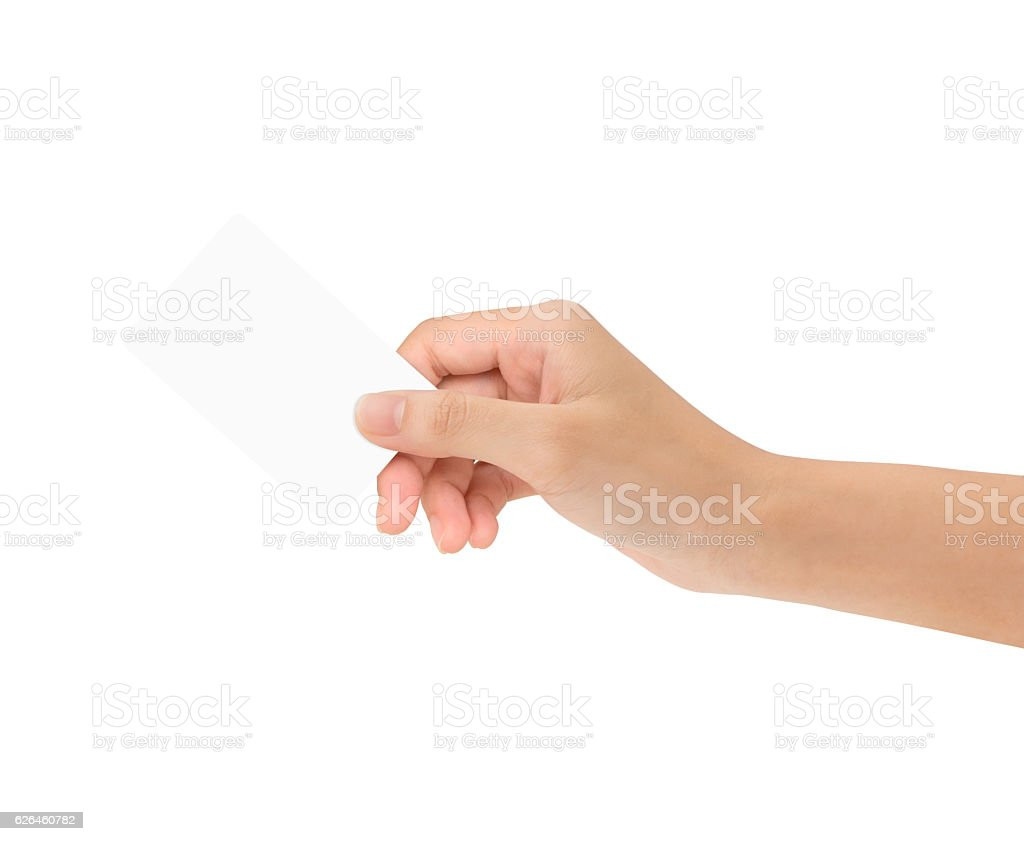 hand holding blank card isolated with clipping path inside stock photo