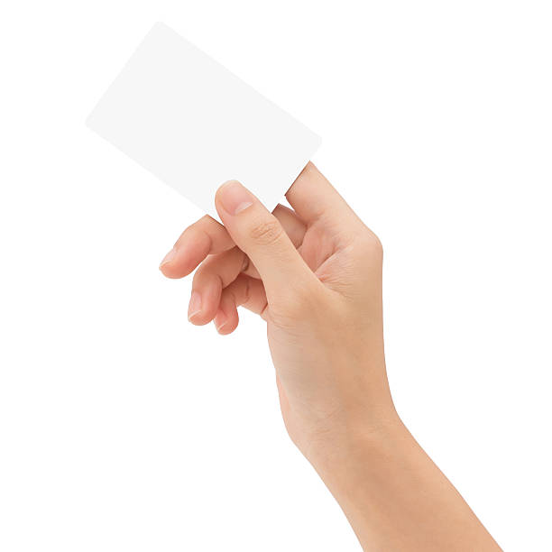 hand holding blank card isolated with clipping path - foto de stock