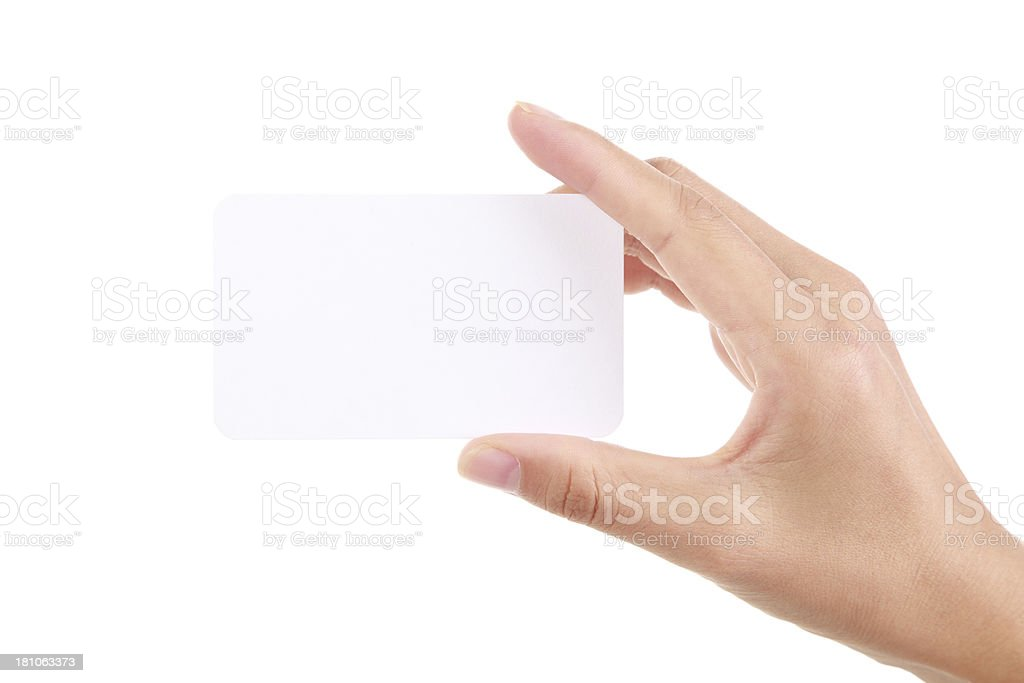 Hand Holding Blank Card-XXL stock photo