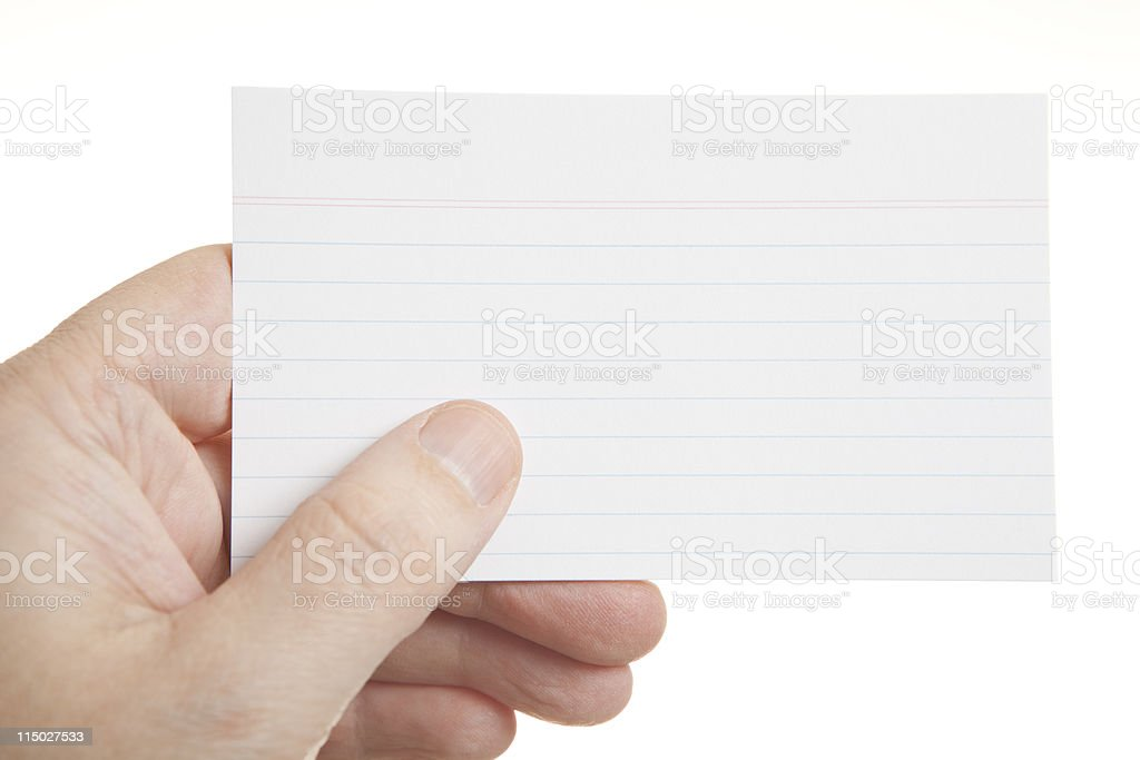 Hand Holding Blank Index Card stock photo