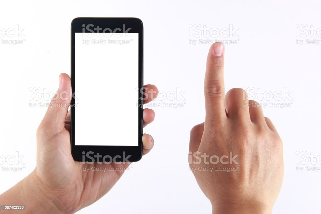 Hand holding blank mobile phone stock photo