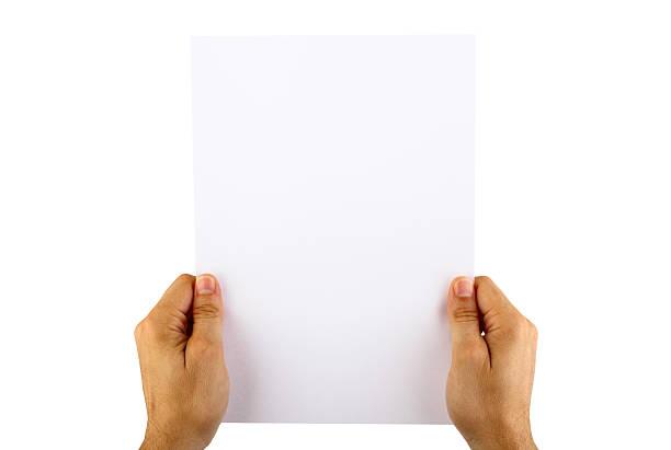 hand holding leere papier - flyer inspiration stock-fotos und bilder