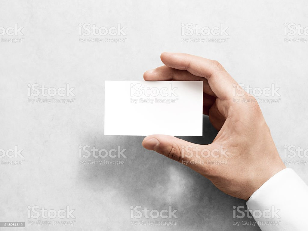 hand holding blank plain white business card design mockup royalty free stock photo