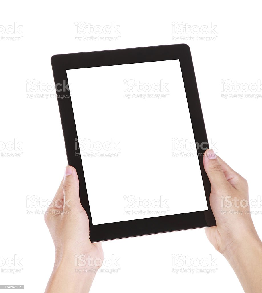 Hand holding blank screen digital tablet on white background royalty-free stock photo