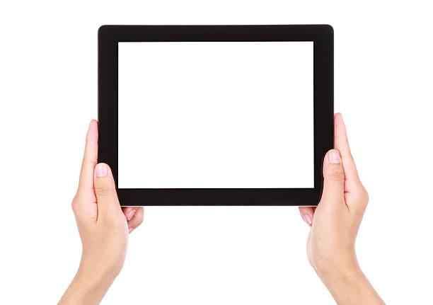 Hand holding leeren Bildschirm tablet PC auf weißem Hintergrund – Foto