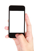 Hand holding blank screen smart phone on white background, More multi-view and high-quality similar pictures in my portfolio