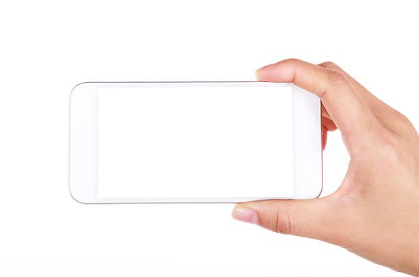Hand holding leeren Bildschirm Smartphone auf weißem Hintergrund – Foto