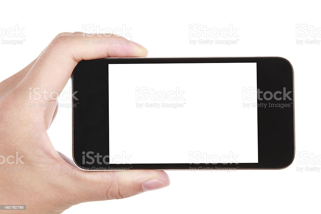 Hand holding blank screen smart phone on white background bildbanksfoto