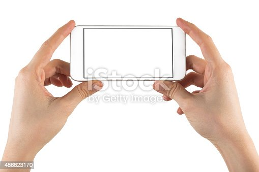istock Hand Holding Blank Screen Smart Phone on White Background 486823170