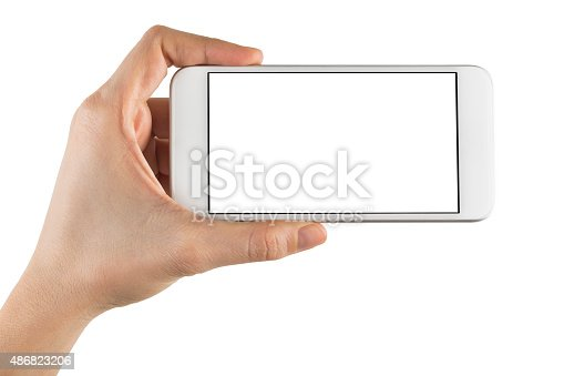 istock Hand Holding Blank Screen Smart Phone on White Background 486823206