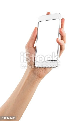 istock Hand Holding Blank Screen Smart Phone on White Background 486823234