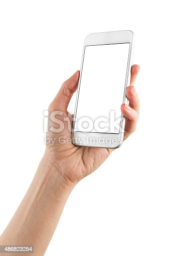 istock Hand Holding Blank Screen Smart Phone on White Background 486823254
