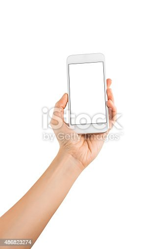 istock Hand Holding Blank Screen Smart Phone on White Background 486823274